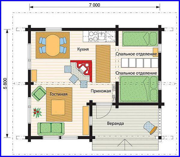 план дома из бруса одноэтажные протяжении всей